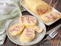 Фото к рецепту: Омлет в пакете, с варёной колбасой