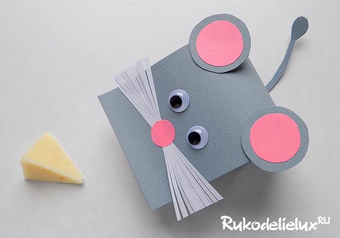 Серая мышка из бумаги